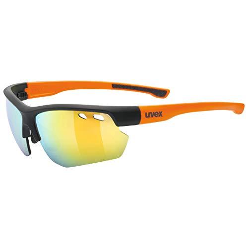 uvex Unisex– Erwachsene Sportstyle 115 Sportbrille, Black matt/orange, One Size