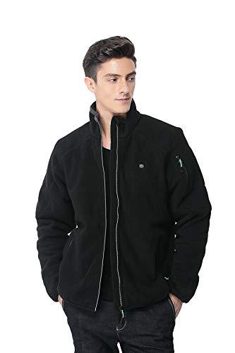 Pau1Hami1ton PJ-05 Herren Winterjacke beheizbare Heiz-Jacke beheizbare Softshell-Jacke Heat Jacket Reissverschluss warm Jacke (S, Black)