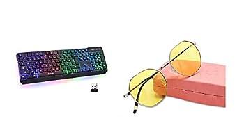 KLIM Chroma Rechargeable Wireless Gaming Keyboard + KLIM Juliette - Blue Light Blocking Glasses