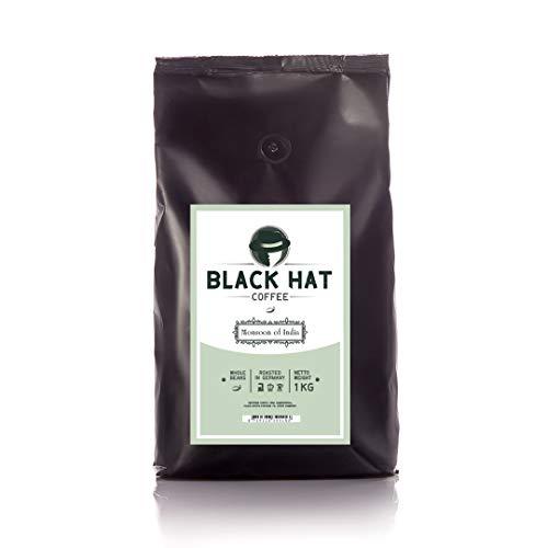 BLACK HAT COFFEE Monsoon of India – 100% Premium Arabica – 1 kg ganze Kaffee-Bohnen optimal für Espresso & Kaffee Crema
