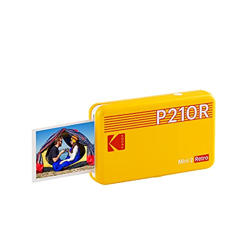 """Kodak Mini 2 Retro 2.1x3.4"""" Portable Instant Photo Printer, Wireless Connection, Compatible with iOS, Android & Bluetooth, Real Photo, 4Pass Technology & Lamination Process, Premium Quality-Yellow"""