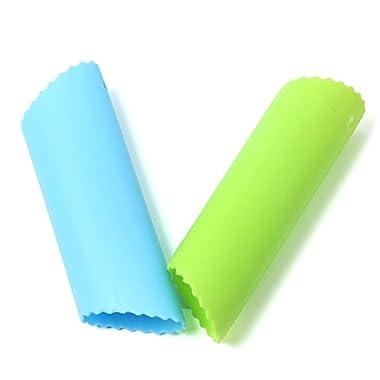 Ginsco 2pcs Silicone Garlic Peeler Tube Peel Easy Useful Kitchen Tools (Green+Blue)