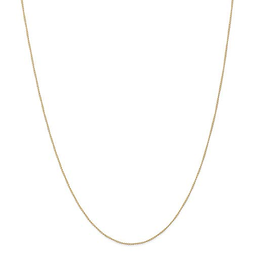 14k Yellow Gold .5 Mm Link Curb Chain Necklace 24 Inch Pendant Charm Carded Fine Jewelry For Women Gifts For Her