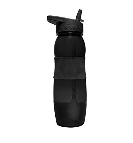 refresh2go 26oz Curve Filtered Water Bottle with Grip, Black