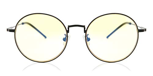 Gunnar Optiks Amber Lens Round Blue Light Blocking, Black, Adult