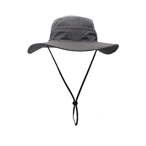 Croch Gris Foncé Chapeau de Soleil Homme Femme Pliable Ete Anti UV Chapeau de Pêcheur pour Les Voyages, Randonnée, Camping, Pêche