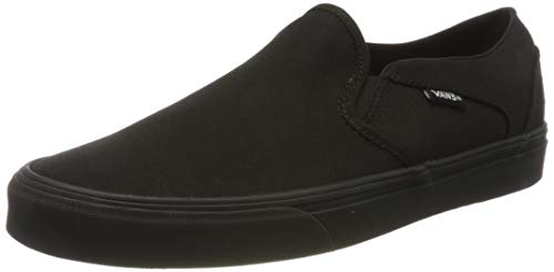 Vans Damen WM Asher Slip On Sneaker, Schwarz ((Canvas) Black/Black 186), 39 EU