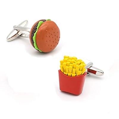 YAMAO Boutons De Manchette Chemise,Boutons de Manchette pour Hamburgers et Frites de Couleur Rouge Conception de matériaux en Laiton