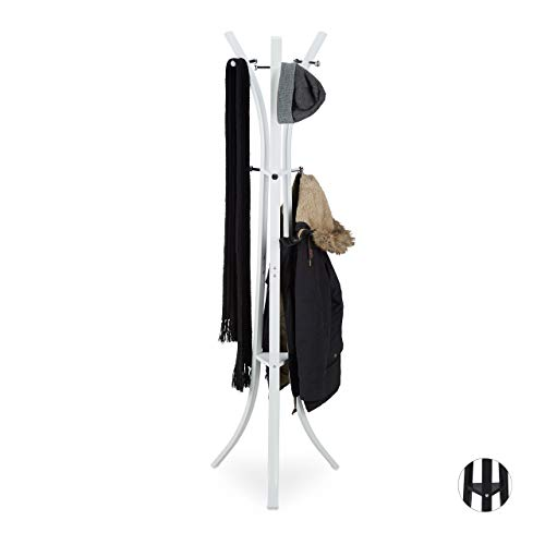 Relaxdays Appendiabiti da Terra, Attaccapanni Moderno, per Corridoio, Ingresso, 9 Ganci, 175 cm, Metallo, Bianco
