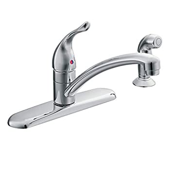 Moen 67430 Chateau Single Handle Kitchen Faucet with Protege Side Spray Chrome 0.375