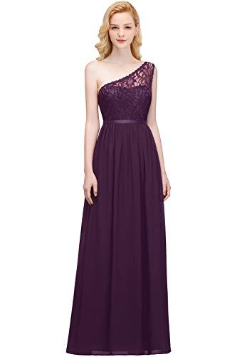 MisShow Damen Ballkleider Lang A Linie Abendkleider Brautjungfernkleider One Shoulder Festkleid Partykleid Violett Gr.38