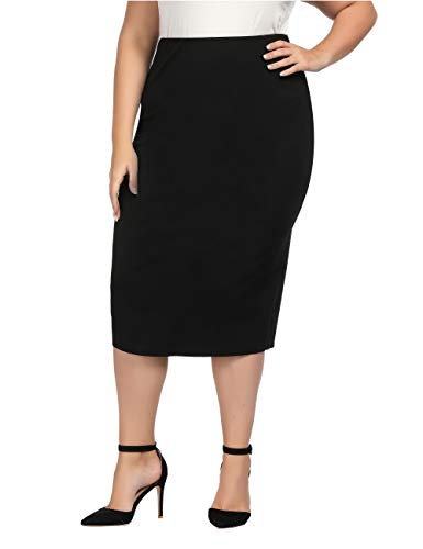 Chicwe Women's Plus Size Stretch Long Tailored Calf Length Pencil Skirt with Elastic Waistband 3X Black