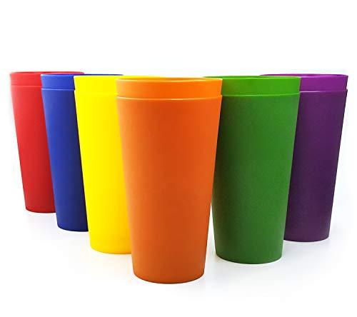 Vasos de plástico grandes de 32 onzas, juego de 12 multicolor, irrompible, apto para lavavajillas, sin BPA