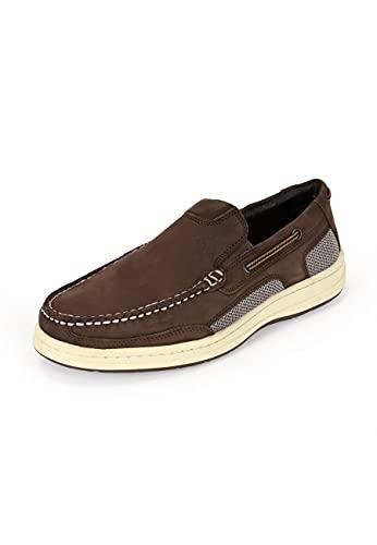 BluePort Damen Herren Bootsschuhe Pacific, Farbe:Dunkelbraun, Größe:45 EU