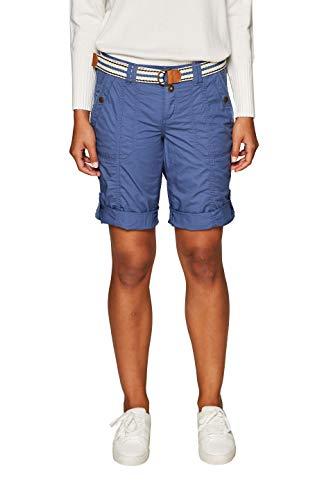 edc by ESPRIT Damen 039CC1C001 Shorts, Blau (Grey Blue 420), W34(Herstellergröße: 34)