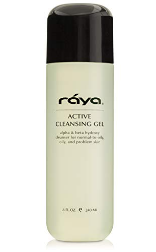 RAYA Active Facial Cleansing Gel with AHA and BHA 8 oz (G-107) | Oil-Free and Exfoliating Deep Pore Gel Cleanser for Oily and Break-Out Skin | Made with Alpha and Beta Hydroxy Acids