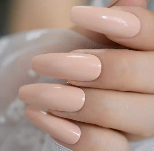 Fingernägel Weiße French Tips Extra Lange, Natürlich Lackierte Stiletto-Nägel Mit Langen Party-Motiven 24 Count H