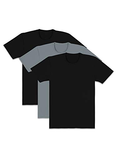Fruit of the Loom Men's Everlight T-Shirts, Active - Black/Grey - Crew Tshirt, X-Large