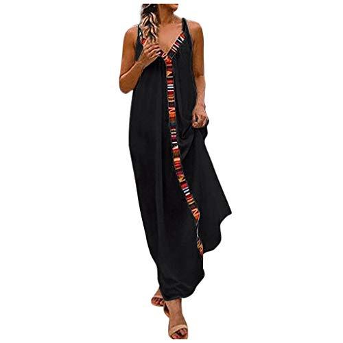 Writtian Sommerkleider Damen Langes Kleider Große Größen Langes Strandkleid aus ärmelloser Farbe Streifen Leinenkleid für den Sommer V-Ausschnitt Casual Kleid im Boho Look