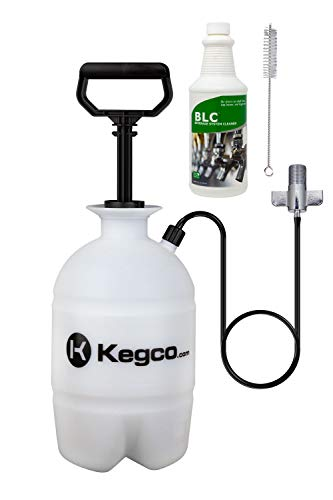 Kegco Deluxe Hand Pump Pressurized Keg Beer Cleaning Kit PCK with 32 Ounce National Chemicals Beer Line Cleaner,Black