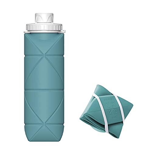 Gazaar Botella plegable de silicona, 600 ml, botella de agua de silicona plegable, sin BPA, prueba de fugas, botella flexible reutilizable para deportes y salidas al aire libre