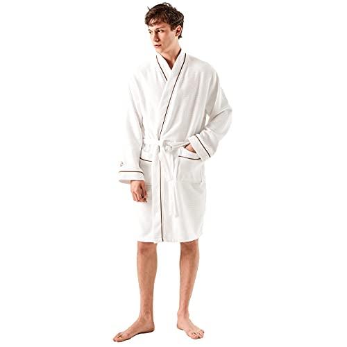 Sahara Maison - Natürlich Waffelpique Bademantel Herren, 100% Echte Baumwolle, Schnell Trocknend, SuperSoft-Bademantel für Männer und Damen - ( Valerian Bademantel Unisex) (L/XL, Braun)