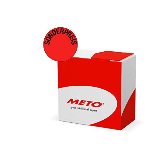 Meto Original Aktionsetiketten Kit - Sonderpreis - in praktischer Spenderbox (33 mm, rund, Fluor Rot, Permanent, 750 Etiketten auf Rolle, Haftetiketten 30001949)