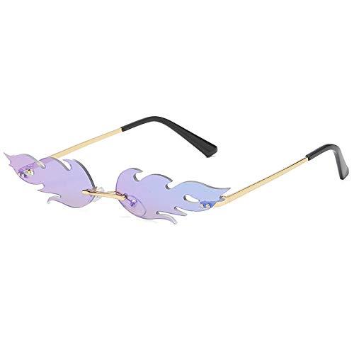 Powzz ornament Nuevas gafas de sol de onda sin montura para mujer y hombre, gafas de sol con llama de fuego, gafas de diseño de marca, gafas de sol estrechas con espejo, verde