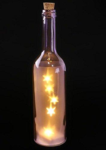 Puckator Farbige Dekoflasche Flasche mit 4 LED, Farbe:lila mit Sternen-Motiv, batteriebetrieben für Fensterbank oder Balkon, sorgt für stimmungsvolles Licht
