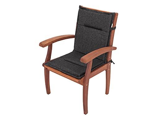 Stuhlauflage, Kurze Rückenlehne, Gartenstuhl Base HL Sitzkissen 96x45 x 4 cm, Bequeme Kissen, Gartenkissen Polster Liege Sesel Stühl - Schwarz