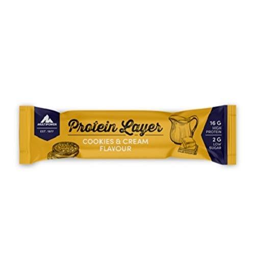 Multipower Protein Layer Bar Energieriegel mit 30% Protein – Fitnessriegel à 18x50g – Proteinriegel als Sport-Snack – Eiweißriegel mit Cookies und Cream Geschmack – kalorienarmer Eiweißriegel