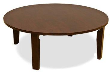 [昔ながらの食卓用テーブル] ちゃぶ台 折りたたみ式円形テーブル (ダークブラウン/DBR)