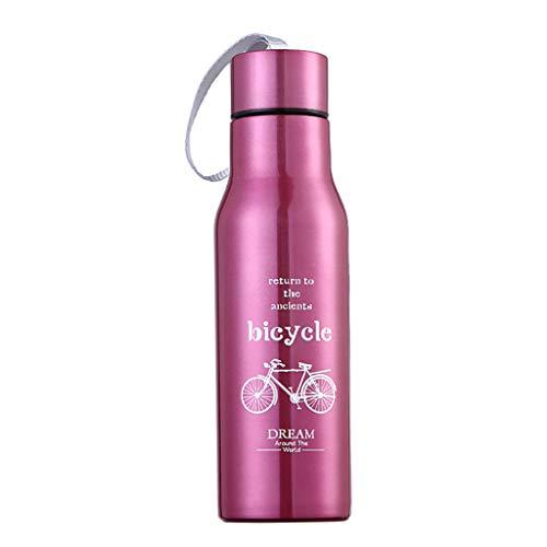 Edelstahl Trinkflasche, Thermosflasche 500ml Wasserflasche Vakuumflasche Auslaufsicher BPA Frei Isolierflasche Sportflasche für Reisen, Fahrrad,Auto,Fitness,Outdoor,Büro,School (Rot)