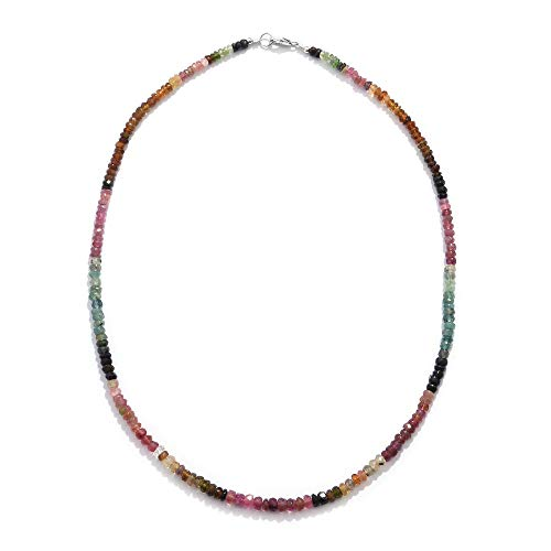 TJC 925 Sterling Silver Multi-Tourmaline Bead Strand Necklace for Women & Girls Size 18', 70 ct