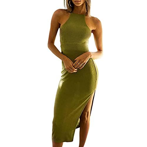 N /C Vestido largo sin mangas para mujer sexy de ajuste cerrado sin espalda Y2K Streetwear