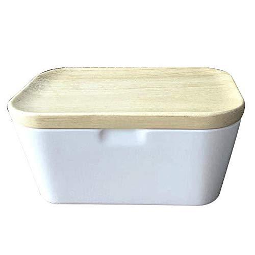 WCJ Butterdose - Große Butter Halter mit Versatile Holzdeckel for Halten Sie Ihre Butter Weiche, 225 ml