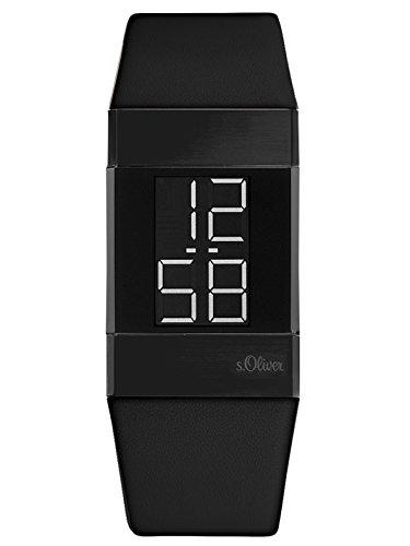 s.Oliver Time Damen Digital Uhr mit Leder Armband SO-3365-LD