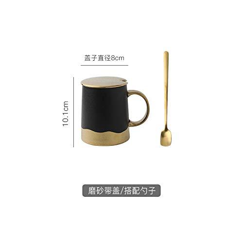 HRDZ Light Style Gold Schwarz Keramik Tasse Haushalt Mug Matt Gold Blatt Kaffeetasse Frühstück Milchtasse, C+, 340ml