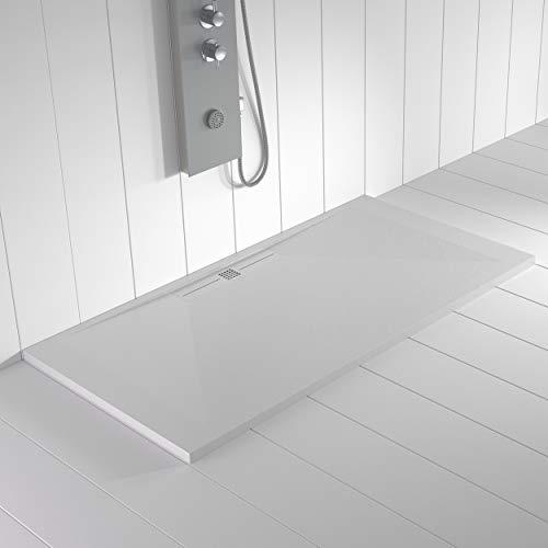 Shower Online Plato de ducha Resina WIDE - 70x90 - Textura Pizarra - Antideslizante - Todas las medidas disponibles - Incluye Rejilla Color Blanco y Sifón - Blanco RAL 9003