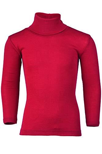 Engel Natur - Maglia intimo a collo alto per bambini, 70% lana vergine organica, 30% seta, certificato GOTS Rosso ciliegia 128 cm