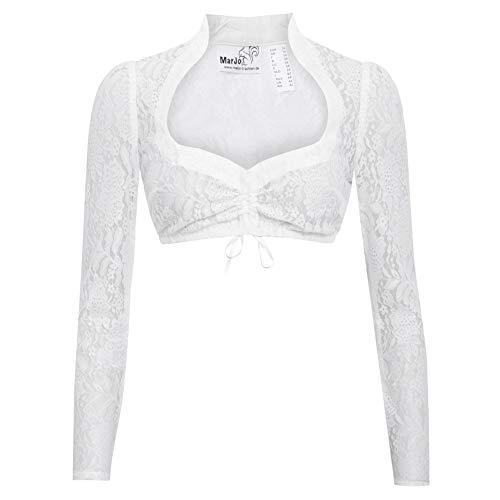 MarJo Trachten Damen Trachten-Mode Dirndlbluse Becca-Celina in Weiß traditionell, Größe:40, Farbe:Weiß