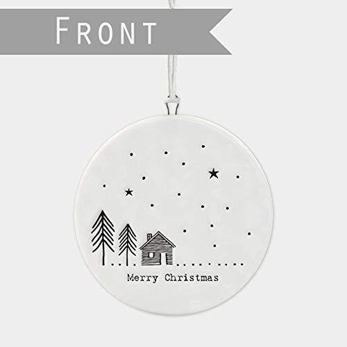 East of India Plat en Porcelaine Boule de Noël Merry Christmas Tree House
