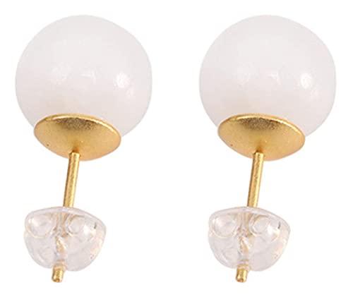 WHFY conjunto de aretes de plata de ley 925 Pendientes de plata de ley chapados en oro Hetian Jade Pendientes de cuentas redondas de jade blanco Moda Simple Pendientes de mujer Exquisitos