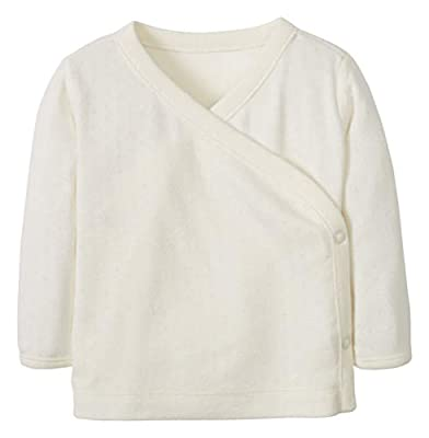 Hanna Andersson Wrap + Snap Top in Organic Cotton Sea Salt Pointelle -75
