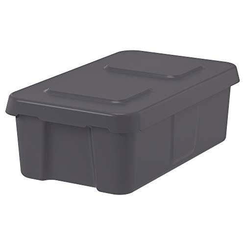 蓋付きKLÄMTAREボックス、屋内/屋外27x45x15cmダークグレー