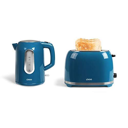 Wasserkocher Kabellos und Toaster Blau Set Frühstücksset (Automatische Abschaltung, Verdecktes Heizelement, 1,7 Liter)