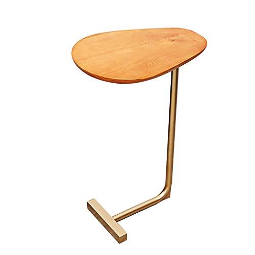Mesita de noche Creativa ovalada pequeña mesa auxiliar de hierro forjado Sofá de madera Mesa de centro de esquina Cama perezosa Mesa de lectura Siéntase libre de moverse Mesita de Luz ( Color : A )