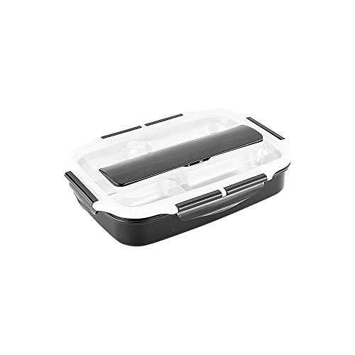 4 Gitter Edelstahl Lunchbox Essen Platte doppelt versiegelt Isolierbehälter Männer und Frauen auslaufsicher Lunchbox Lunchbox Essen Box,Schwarz