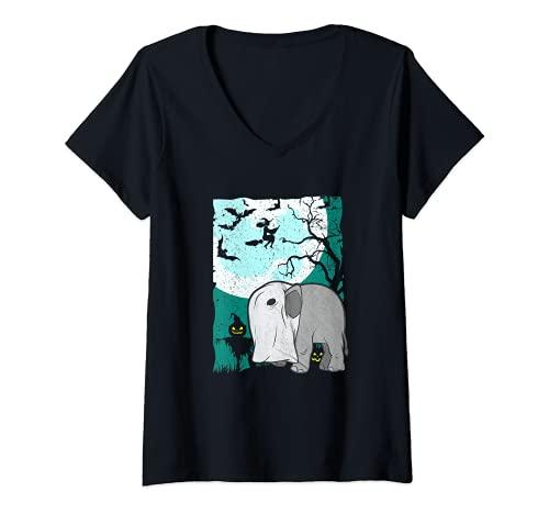 Mujer Adorable elefante de Halloween con mscara de bruja de calabaza de miedo Camiseta Cuello V