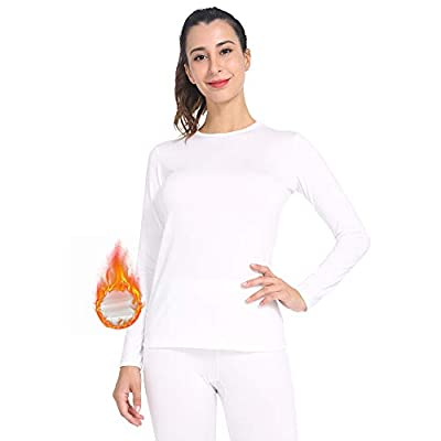 MANCYFIT Womens Thermal Tops Fleece Lined Shirt Long Sleeve Base Layer White Small